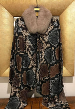 ANNA Baby 100% Cashmere Grand Python print Shawl with Blue Fox Dyed Sand and Horn needle beads