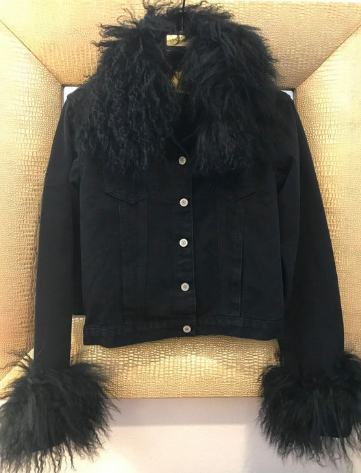 Mohair Anna Irion Signature Black Jean Jacket with Black Mongolian Lamb