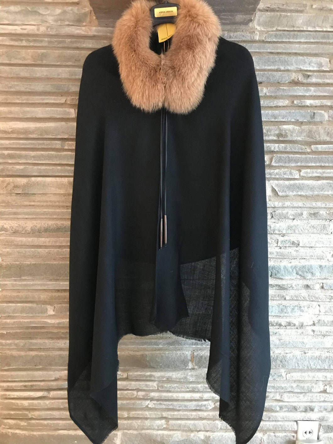 ANNA Baby 100% Cashmere Black Shawl with Blue Fox Dyed Rich Camel and Horn needle beads
