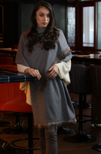 Bruna 100% Cashmere Loro Piana Fabric Medium Grey Wrap with with Guinea Hen Feather and lightweight metal mesh