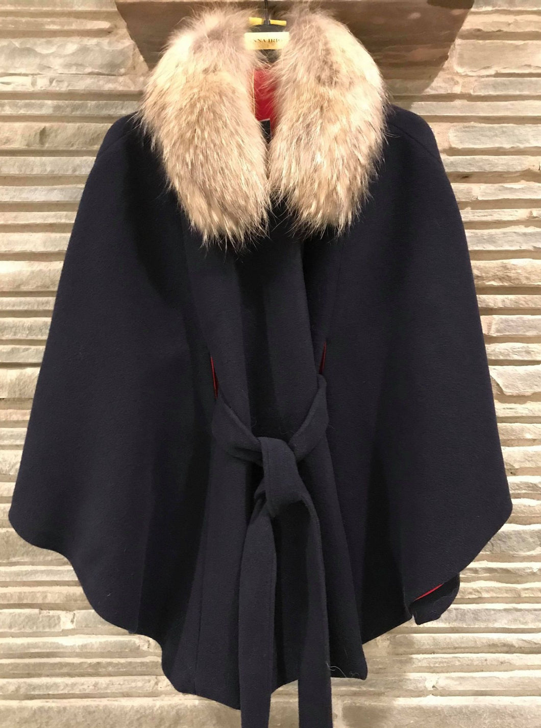 CeCe 100% Italian Cashmere navy with Finland Raccoon Natural Removable Collar