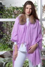ANNA 100% Baby Cashmere Shawl in Lavender with Crystal Fox Collar