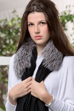 ANNA 100% Baby Cashmere Shawl in Black with Natural Indigo Fox Collar