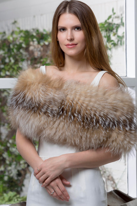 Olympia Knit Fur Wrap in Vanilla Silver Fox