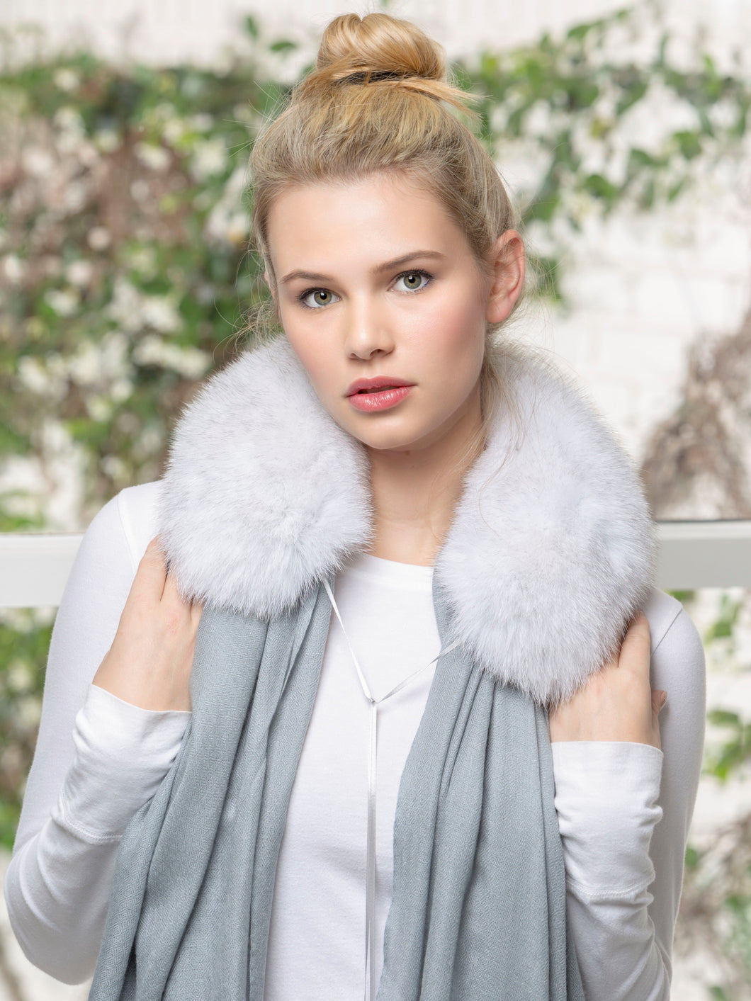 ANNA 100% Baby Cashmere Shawl in Stone with Natural Blue Fox Collar
