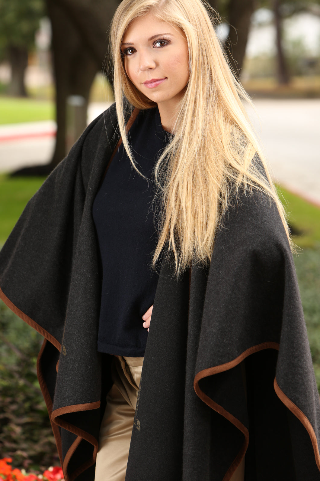 Olivia Poncho in Black with Brown Leather Trim
