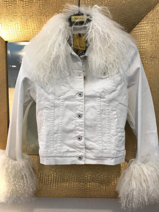 Mohair Anna Irion Signature White Jean Jacket with White Mongolian Lamb