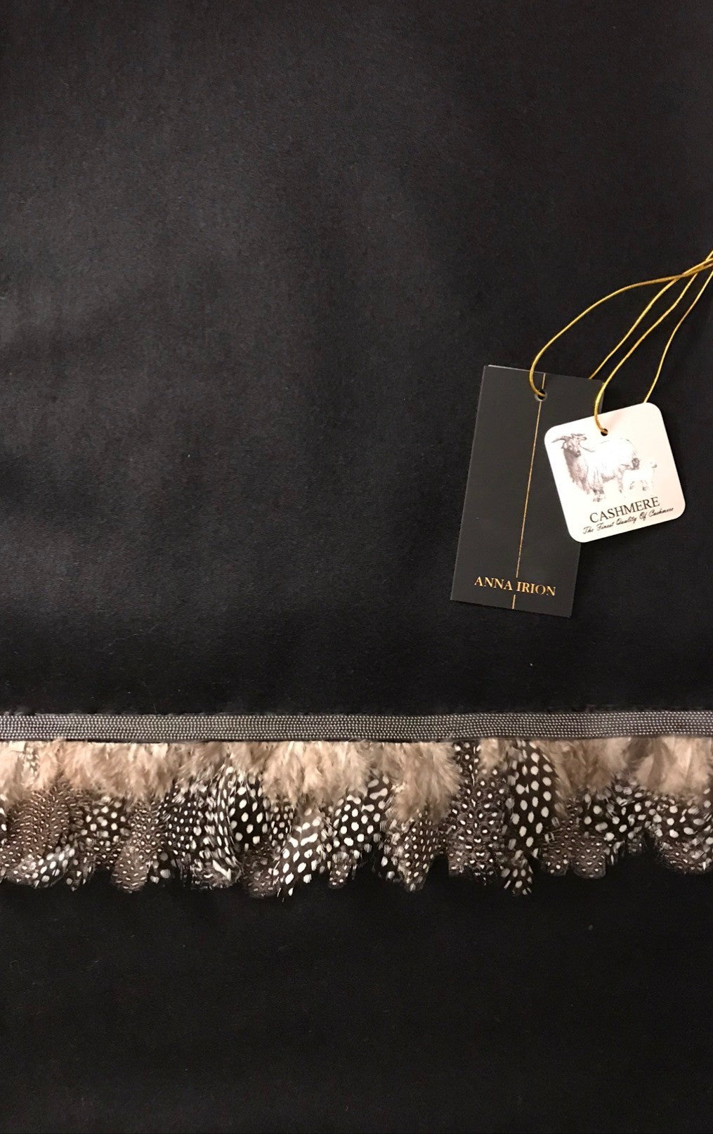 Bruna 100% Cashmere Loro Piana Fabric Midnight Black Wrap with Guinea Hen Feathers, Gunmetal light weight metal mesh trim