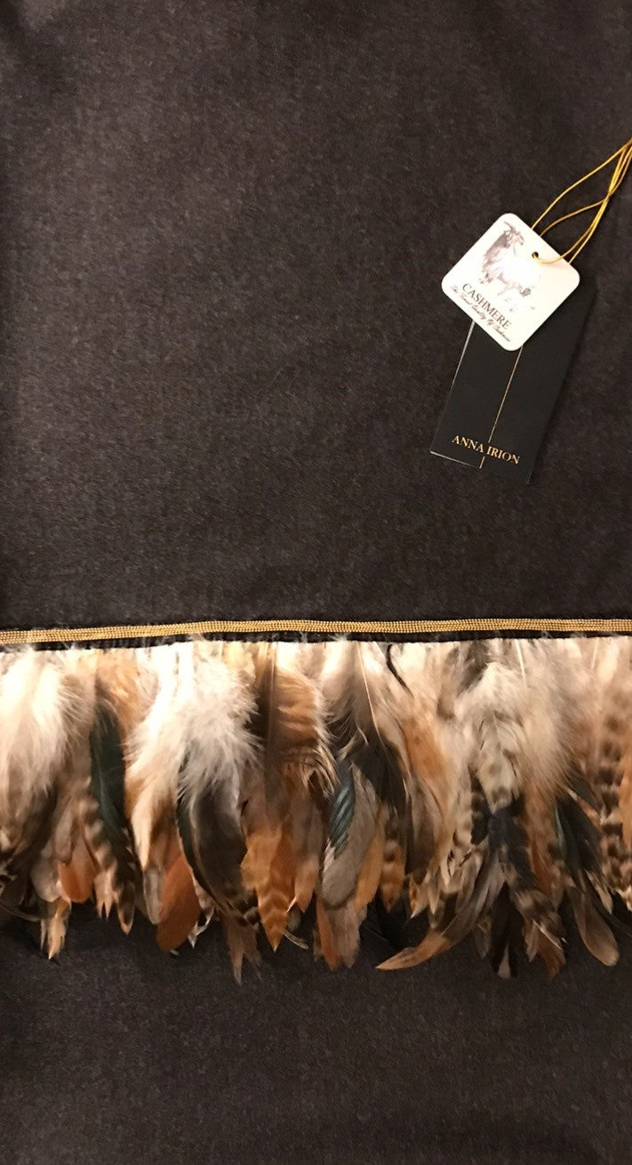 Bruna 100% Cashmere Loro Piana Fabric Chocolate Heather with Charcoal Heather over tones Wrap with Golden Hen Feather and Gold Metal light weight mesh trim