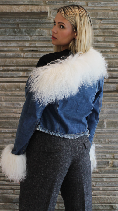 Mohair Anna Irion Signature Jean Jacket with White Mongolian Lamb