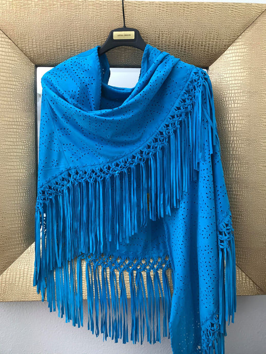 Suede Wrap Goat Skin Mystique Blue Hand Cut and Hand-Knotted Design with 8