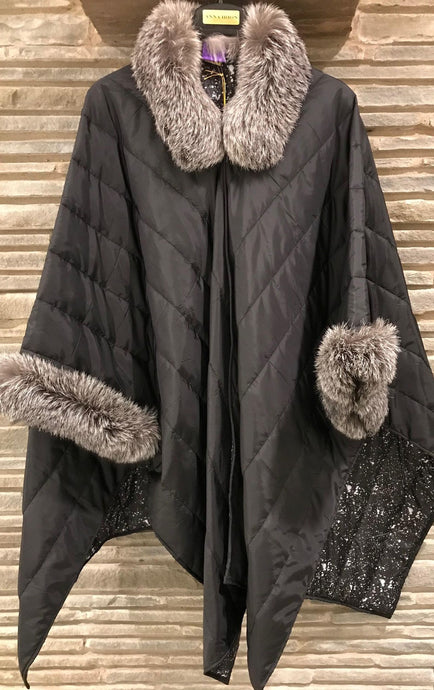 ANNA Puffer Quilted Nylon light weight Black with Indigo Fox natural fur