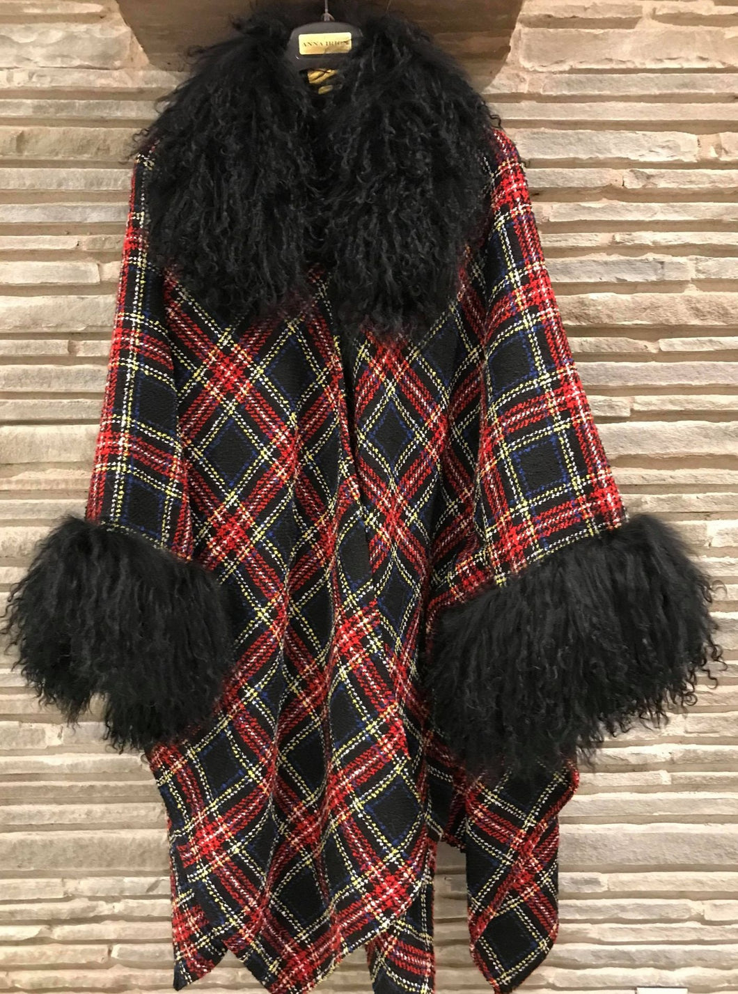 Loro Stuart Plaid 100% Italian Cashmere Cape with long curly Mongolian lamb