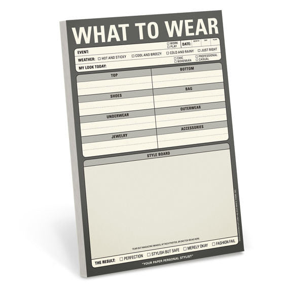 Knock Knock Note Pad - What to Wear