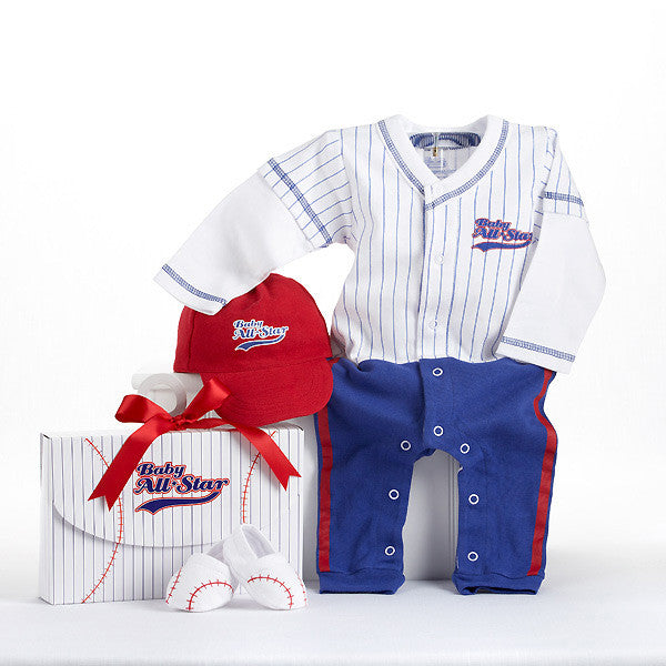 "Baby Aspen ""Big Dreamzzz"" Baby Baseball Three-Piece Layette Set"