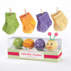"Baby Aspen ""Caterpillar Crawlers"" Baby Socks Gift Set"