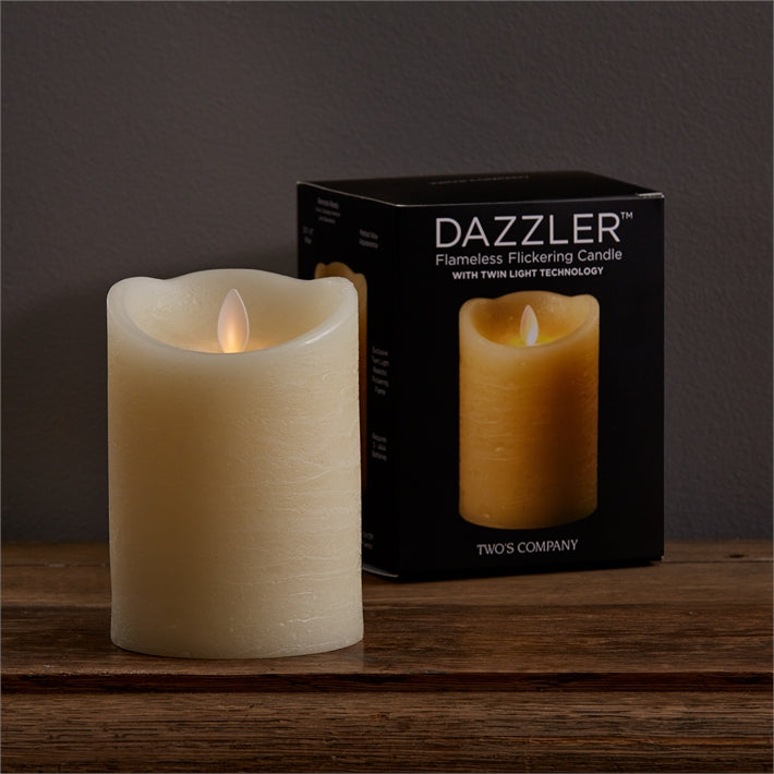 "Two's Company 5"" Dazzler Flickering Candle Unscented Wax/Plastic"