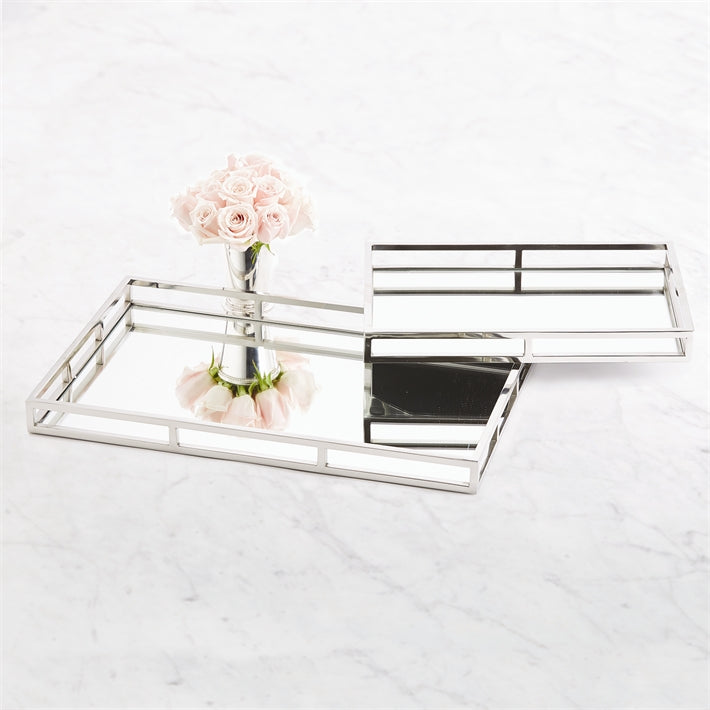 Two's Company Princeton Set of 2 Rectangle Mirrored Gallery Trays