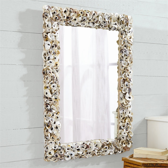 Two's Company Oyster Bay Rectangle Shell Wall Mirror