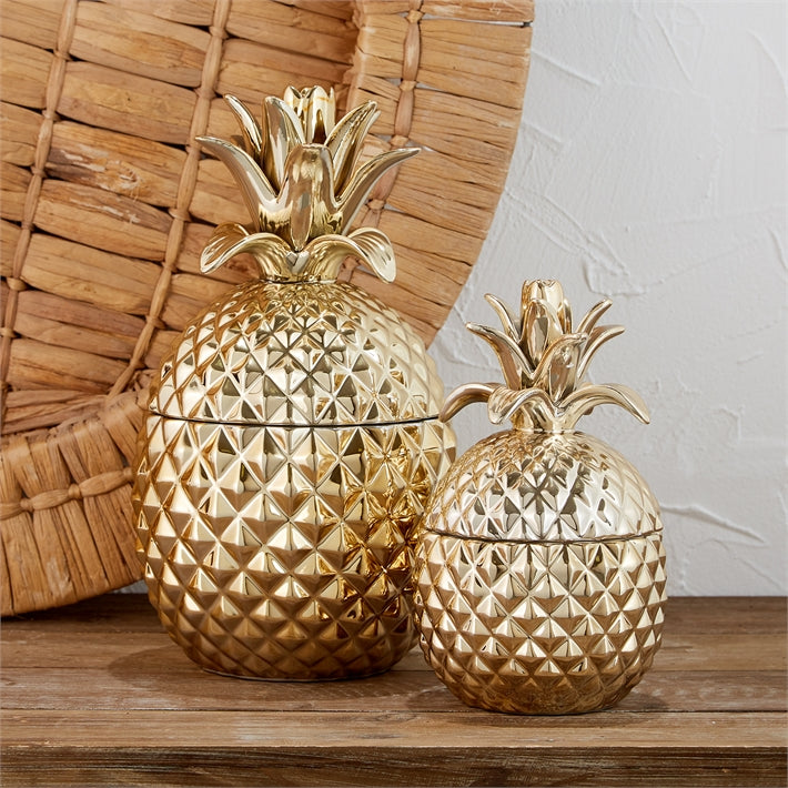 Two's Company Golden Hospitality Set of 2 Pineapple Jars