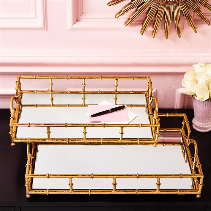 Two's Company Golden Elegance Set of 2 Mirrored Glass Trays