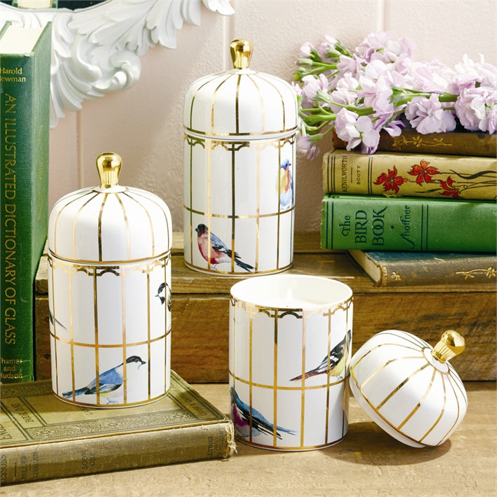 Two's Company Gilded Cage Lidded Fill Candle