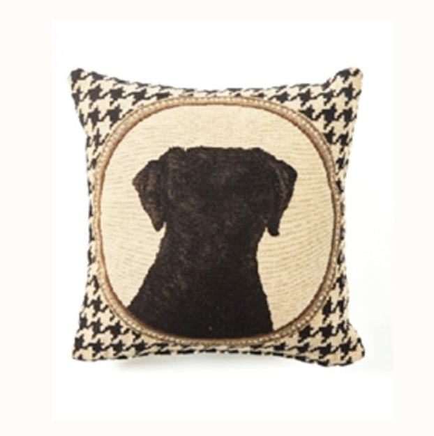 "Two's Company ""Pied de Poule"" Houndstooth Lab Pillow"