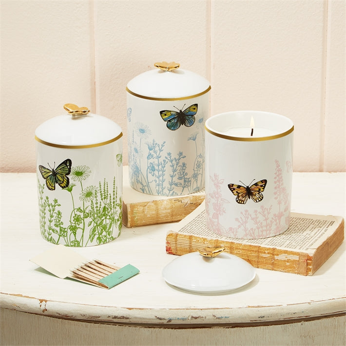 Two's Company Butterfly Garden Lidded Filled Candle in Gift Box Assorted 3 Colors