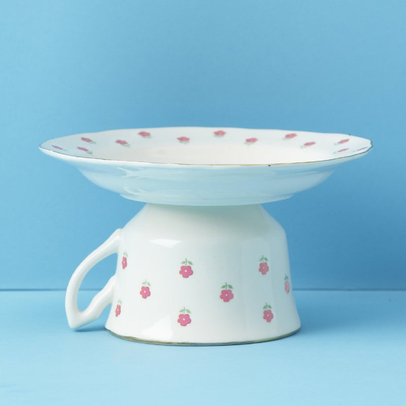 "Two's Company ""Perfect Pair"" Vintage Cup & Saucer Mini Cake Stand"