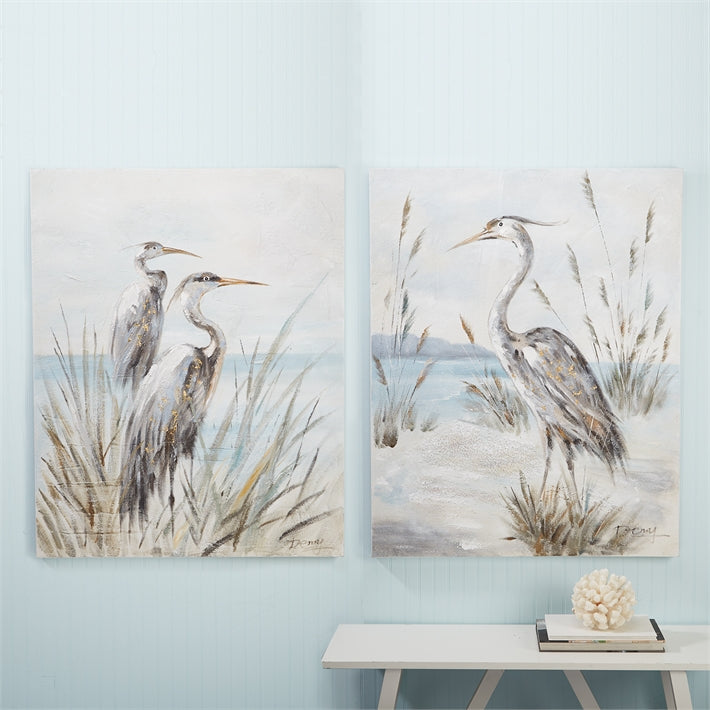 Two's Company Shore Bird Set of 2 Hand-Painted Wall Art