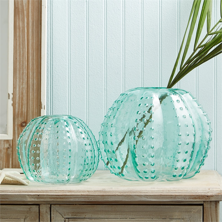 Two's Company Set of 2 Sea Urchin Art Glass Vases