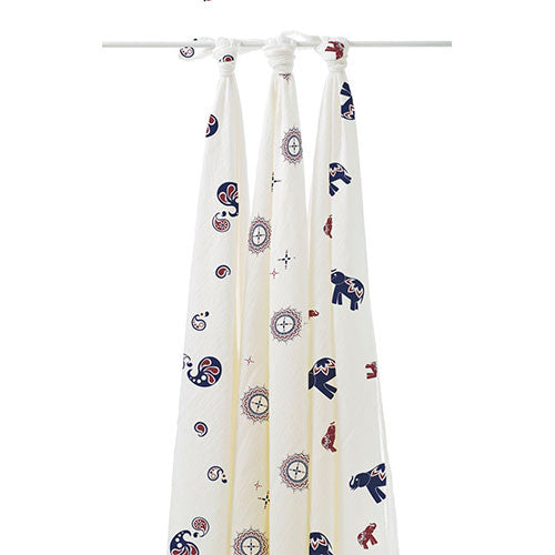 Aden + Anais Bamboo Muslin Swaddle Blankets 3-Pack - Diwali