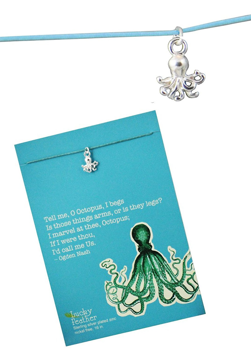 Lucky Feather Aquarium Necklace Silver - Octopus