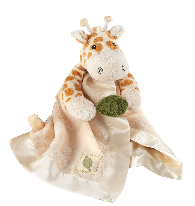 "Baby Aspen ""Jakka the Giraffe"" Little Expeditions Plush Rattle Lovie with Crinkle Leaf"