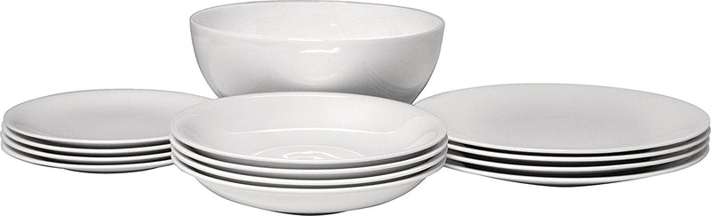 Alessi All-Time Table Set - 4 Dining/Side Plates, Soup Bowls, 1 Salad Serving Bowl