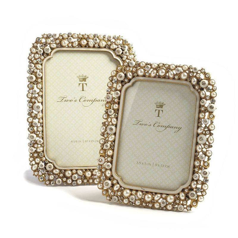 Two's Company Timeless Crystal And Pearls Photo Frames