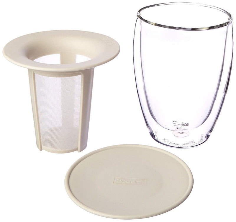 Bodum Tea for One, 12 Oz Double Glass Wall, and Tea strainer