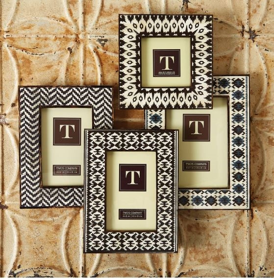 Twos Company Brown Ikat Frames