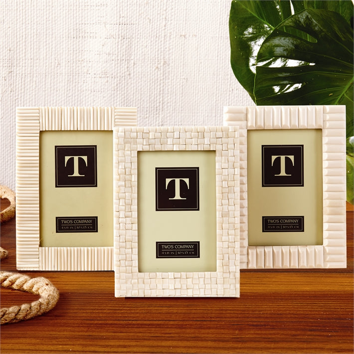 Two's Company 4 x 6 Carved Bone Photo Frame