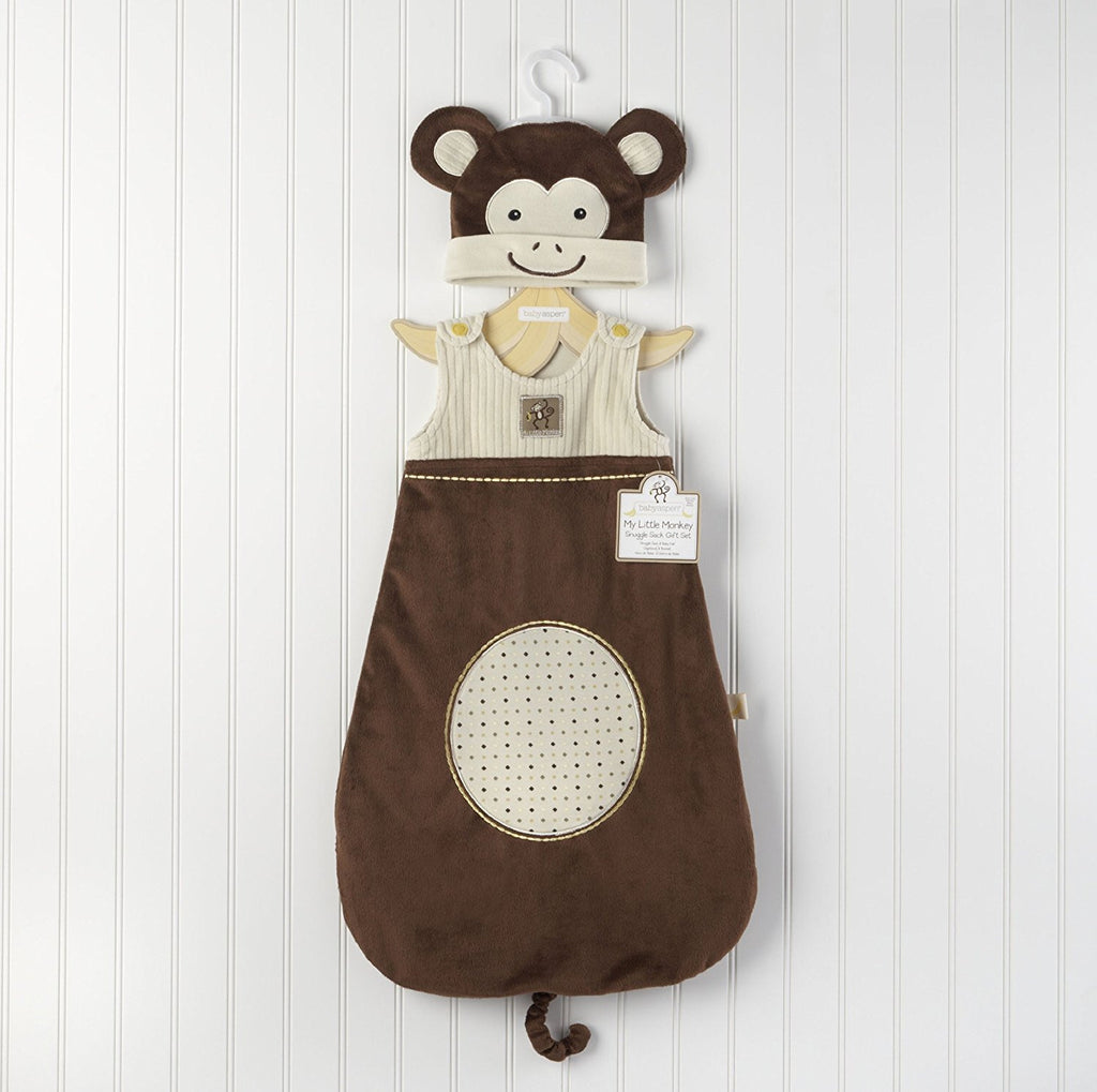 "Baby Aspen ""My Little Monkey"" Snuggle Sack and Cap"
