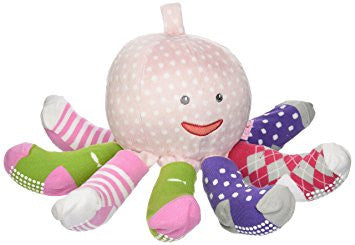 "Baby Aspen ""Mr. / Mrs. Sock T. Pus"" Plush Octopus with 4 Pairs of Socks"