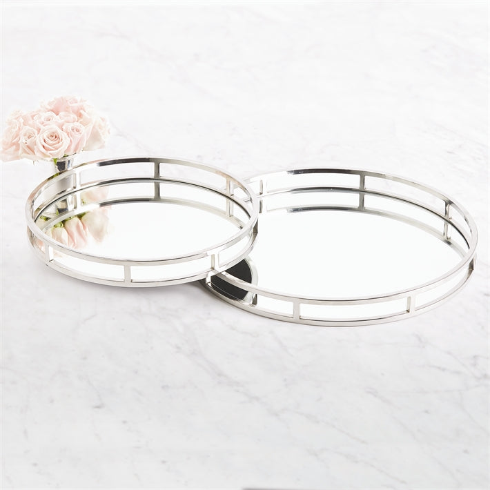 Two's Company Princeton Set of 2 Round Mirrored Gallery Trays