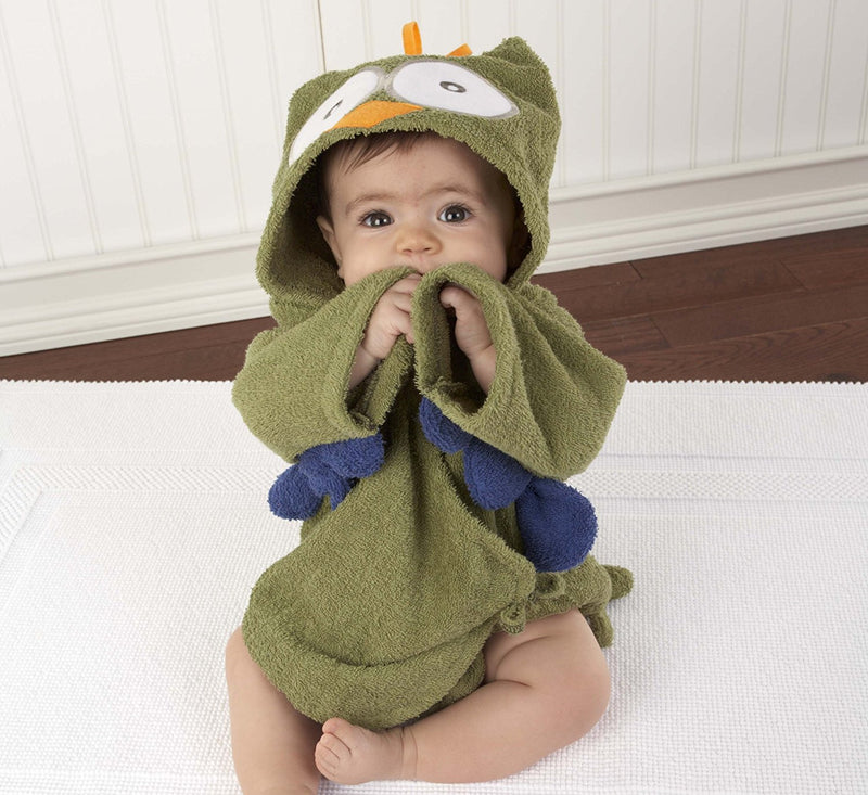 "Baby Aspen ""My Little Night Owl"" Hooded Terry Spa Robe"