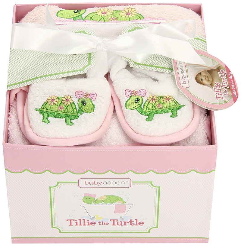 "Baby Aspen ""Tillie the Turtle"" Four-Piece Bathtime Gift Set"