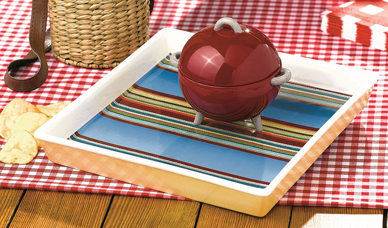 Grasslands Road Backyard BBQ Red Barbecue Covered Dip Bowl and Tray Set