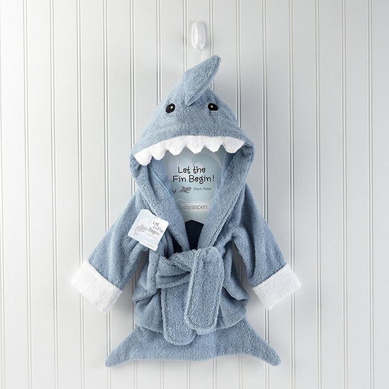 "Baby Aspen ""Let the Fin Begin"" Terry Shark Robe"
