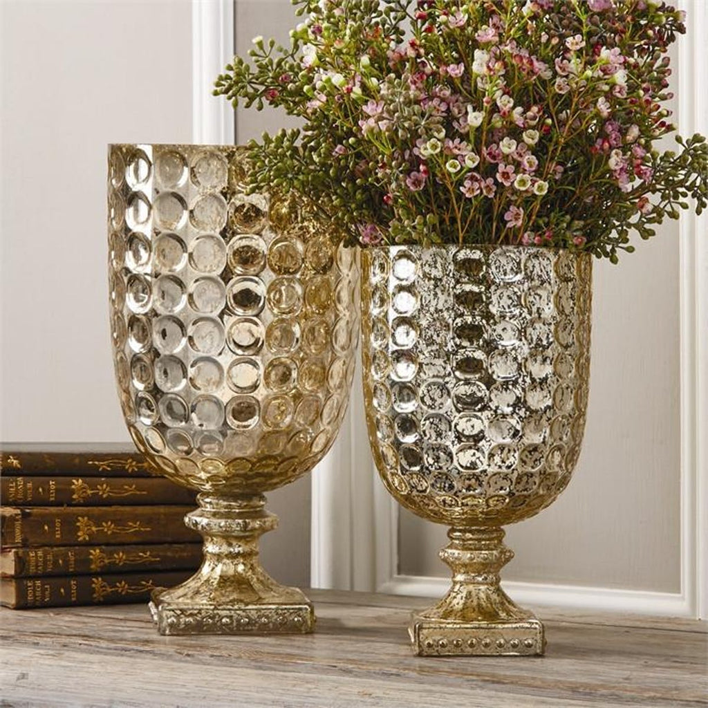 Two's Company Antiqued Gold Goblet Tealight Candleholder/Vase,Set Of 2