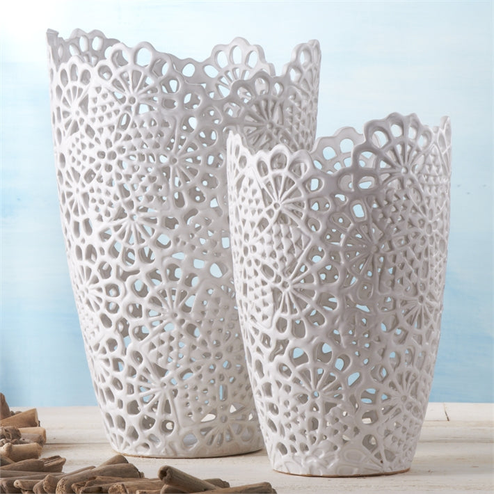 Two's Company White Lace Set of 2 Cutwork Vases