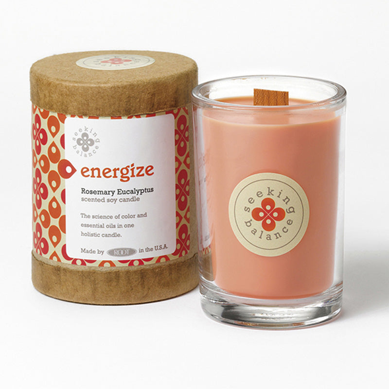 Root Seeking Balance 6.5 Oz Candle - Energize Rosemary Eucalyptus