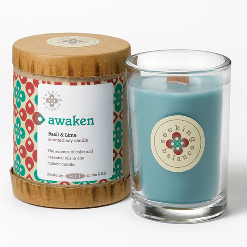 Root Seeking Balance 6.5 Oz Candle - Awaken Basil & Lime